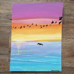 💙 4/$20 Sale: Hand Painted: Sunrise Ocean